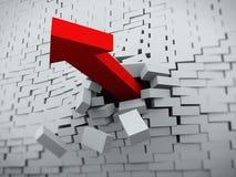 3d arrow burst through brick wall. 3d rendering of red powerful arrow burst breaking through brick wall Stock Image