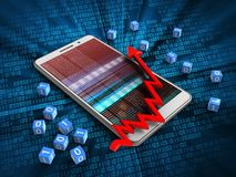 3d arrow chart. 3d illustration of white phone over digital background with binary cubes and arrow chart Stock Photos