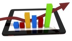 3d arrow chart and tablet Stock Photos