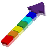 3d arrow. Consisting of separate blocks painted in rainbow colors for designers for various necessities Stock Photography