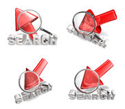3D arrow cursor and the magnifying glass icon. 3D Icon Design Se Stock Photography