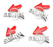 3D arrow cursor and the magnifying glass icon. 3D Icon Design Se Stock Images