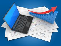 3d arrow graph. 3d illustration of diagram papers and black laptop over blue background with arrow graph Royalty Free Stock Photo