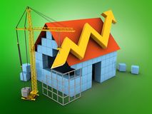3d arrow graph. 3d illustration of block house over green background with arrow graph and construction site Stock Image