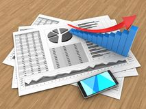 3d arrow graph. 3d illustration of business charts and arrow graph over wood background Royalty Free Stock Photo