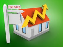 3d arrow graph. 3d illustration of house red roof over green background with arrow graph and sale sign Stock Photo