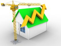 3d arrow graph. 3d illustration of simple house over white background with arrow graph and crane Royalty Free Stock Images