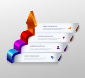3d arrow grow infographic background template. Simple multicolor 3d arrow grow steps infographics mockup template. Infographic background concepts collection Stock Image