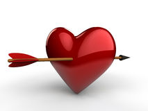 3d arrow through the heart. 3d render of arrow through the heart  on white background Stock Images