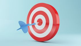 3d Arrow hitting the center of red target. 3d illustration. Arrow hitting the center of red target on blue background. Success in business concept Stock Photo