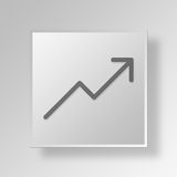 3D Arrow icon Business Concept. 3D Symbol Gray Square Arrow icon Business Concept Stock Images