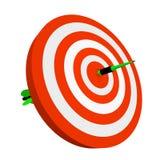 3d arrow pierce dartboard. Dartboard pierced by arrow Stock Photo