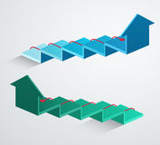 3d arrow with red rising pointer. Blue and green business structure of growth Stock Photos