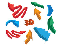 3D Arrow Signs. Arrows 3d set objects vector Stock Photography