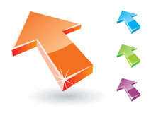 3D Arrow Signs. Set of four arrow icons Royalty Free Stock Photography