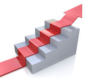 3D arrow on a staircase. In the design of information related to abstraction goals Stock Photo