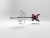 3d arrow on target. Isolated gray Royalty Free Stock Photo