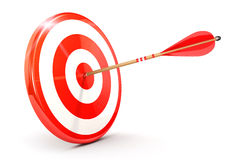 3d arrow on target. Isolated white background, 3d image Stock Image