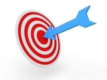 3d arrow on target. 3d render of an arrow on target board Stock Photo