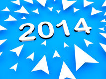 3d arrow with 2014 text. Many 3d arrow pointing towards 2014 Royalty Free Stock Photo