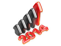 3D arrow with year 2014 growth upward. Isolated on a white background Vector Illustration