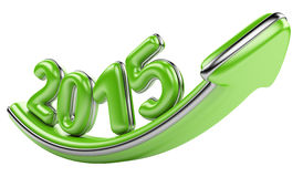 3D arrow with year 2015 growth upward Stock Photography