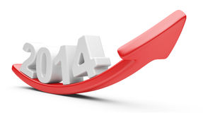 3D arrow with year 2014 growth upward Stock Photo