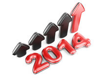 3D arrow with year 2014 growth upward Stock Image