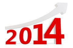 3D arrow with year 2014. On a white background Stock Illustration