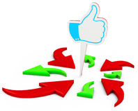 3d Arrows aimed at the Like symbol Stock Photo
