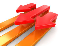 3d Arrows back (clipping path included) Stock Images