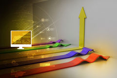 3d arrows. In color background Stock Images