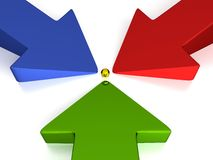 3D Arrows - 3 Colors - Production. Green / Red / Blue Stock Image
