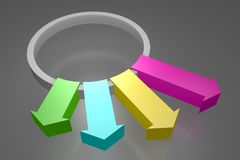 3D arrows... 3D computer generated colorful arrows royalty free illustration