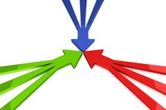 3D Arrows - Green / Red / Blue. 3D Arrows - 3 in 1 - Green / Red / Blue Royalty Free Stock Images