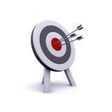 3d Arrows hit bullseye. 3d render of arrows hitting a target Royalty Free Stock Photo