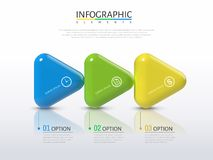 3D arrows infographic. Plastic texture glossy arrows with different colors in 3d illustration, process concept Royalty Free Stock Photo