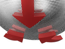 3D arrows on mesh sphere Royalty Free Stock Image
