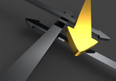 Yellow directional arrow. 3d arrows in opposing directions with one bright yellow one Royalty Free Stock Photography