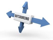 3d arrows outsourcing concept Stock Photo