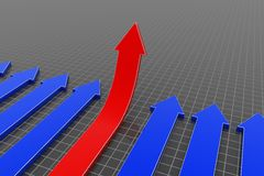 3D arrows. (red arrows up Stock Photography