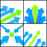 3d arrows. 3d rendered image set of blue and green 3d arrows on a white background. Destination, direction leadership, growth concept Royalty Free Stock Photography