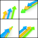 3d arrows. 3d rendered image set of orange, blue and green 3d arrows on a white background. Direction, growth, leadership concept Stock Photos