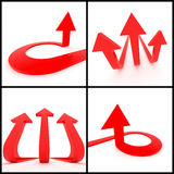 3d arrows. 3d rendered image set of red 3d arrows on a white background. Leadership, direction trident, growth concept Royalty Free Stock Photo