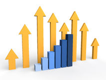3d arrows and rising bar graph. 3d render of arrows and rising bar graph Royalty Free Stock Photos