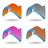 3D arrows. Set of four coloured glossy 3D arrows - vector illustration Royalty Free Stock Photos