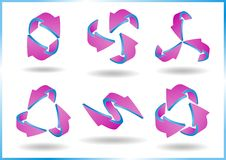 3D arrows. Set of pink and blue colored glossy 3D arrows -  illustration Stock Images