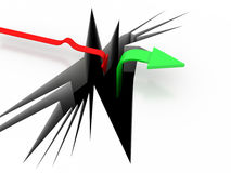 3d arrows success or failure concept Stock Images