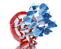 3D Arrows in target. Business and success. 3d renderer image. Arrows in target. Concept of business and success.  white background Stock Images