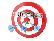 3d arrows in target. Concept of success. 3d renderer image. Three arrows in target. Concept of success on white background Stock Photo